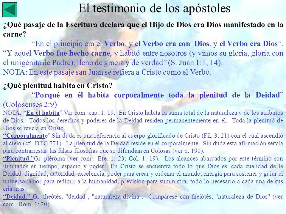 El testimonio de los apóstoles ¿Qué pasaje de la Escritura declara que el Hijo de Dios era Dios manifestado en la carne? En el principio era el Verbo,