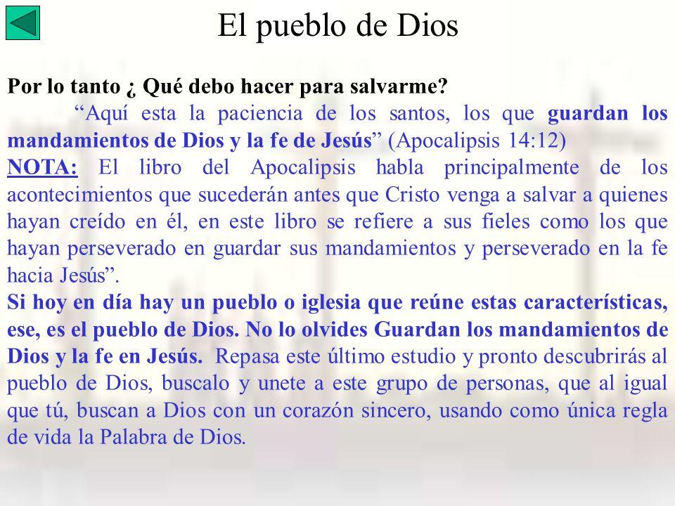 Por lo tanto ¿ Qué debo hacer para salvarme? Aquí esta la paciencia de los santos, los que guardan los mandamientos de Dios y la fe de Jesús (Apocalip