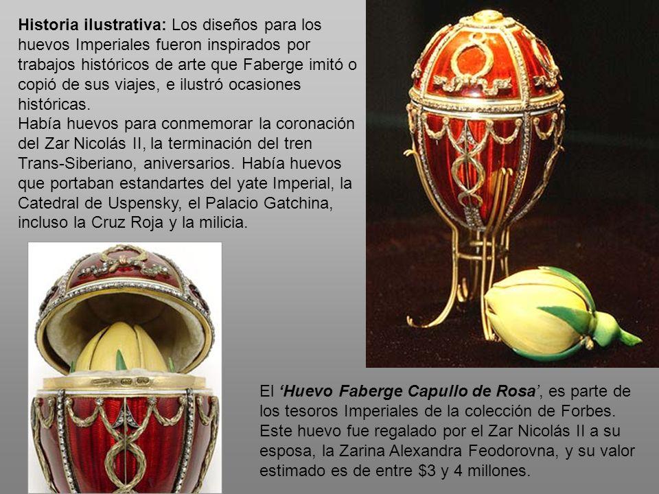 Historia ilustrativa: Los diseños para los huevos Imperiales fueron inspirados por trabajos históricos de arte que Faberge imitó o copió de sus viajes