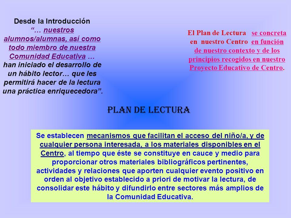 OBJETIVO ÚLTIMO Para todos los miembros de nuestra Comunidad Educativa 0BJETIVOS: Implicar a las familias en el Plan lector desarrollado desde el Centro.