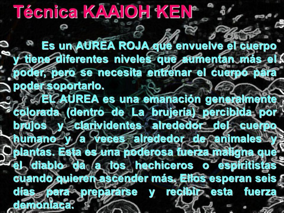 Técnica KAAIOH KEN Es un AUREA ROJA que envuelve el cuerpo y tiene diferentes niveles que aumentan más el poder, pero se necesita entrenar el cuerpo p