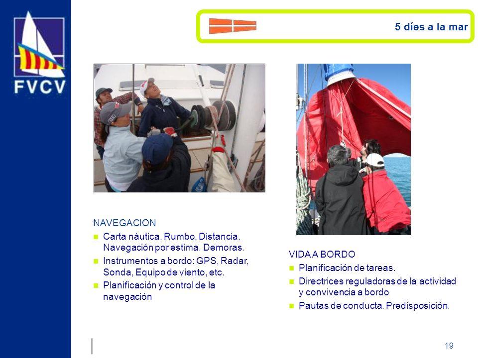 19 NAVEGACION Carta náutica. Rumbo. Distancia. Navegación por estima. Demoras. Instrumentos a bordo: GPS, Radar, Sonda, Equipo de viento, etc. Planifi