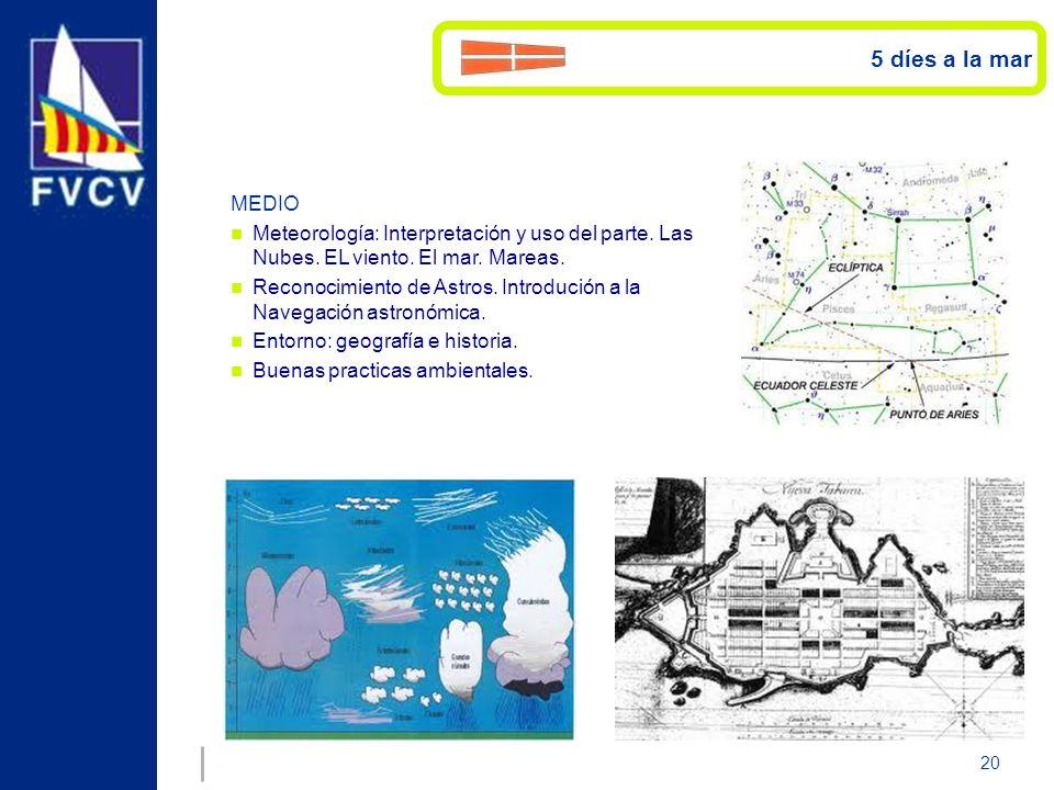 20 MEDIO Meteorología: Interpretación y uso del parte. Las Nubes. EL viento. El mar. Mareas. Reconocimiento de Astros. Introdución a la Navegación ast