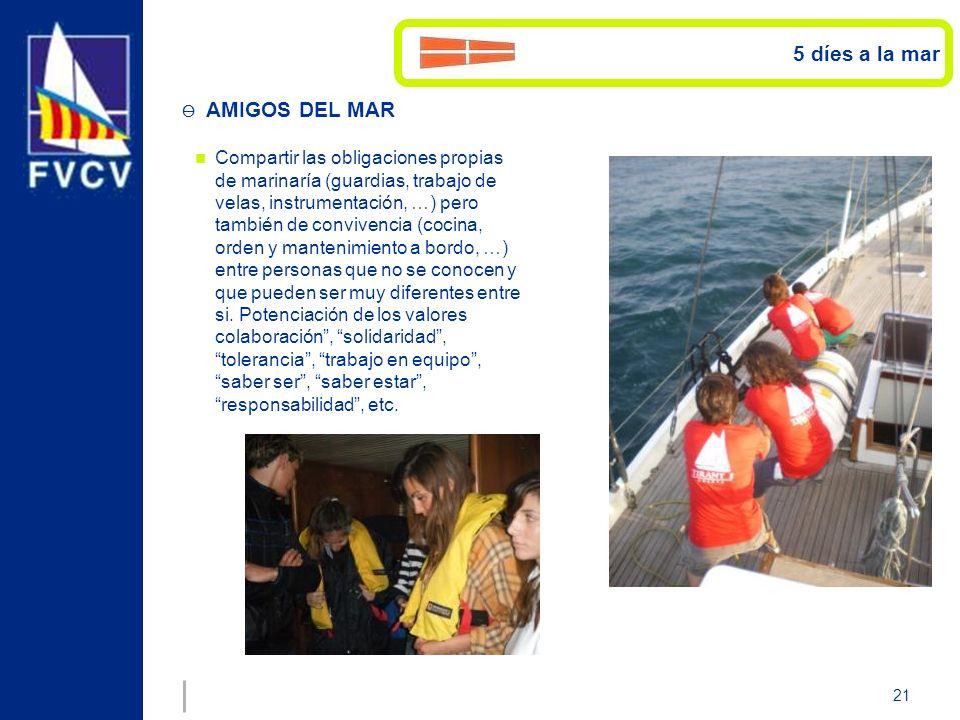 21 Compartir las obligaciones propias de marinaría (guardias, trabajo de velas, instrumentación, …) pero también de convivencia (cocina, orden y mante