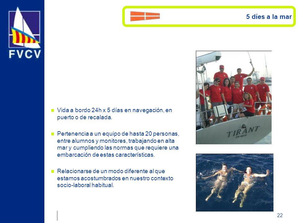 22 Vida a bordo 24h x 5 días en navegación, en puerto o de recalada. Pertenencia a un equipo de hasta 20 personas, entre alumnos y monitores, trabajan