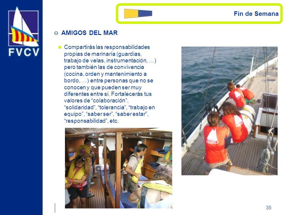 35 Compartirás las responsabilidades propias de marinaría (guardias, trabajo de velas, instrumentación, …) pero también las de convivencia (cocina, or
