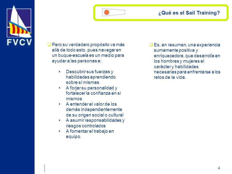 4 ¿Qué es el Sail Training? Pero su verdadero propósito va más allá de todo esto, pues navegar en un buque-escuela es un medio para ayudar a las perso