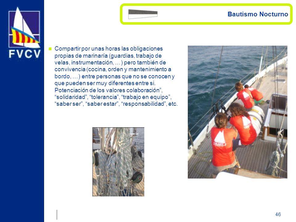 46 Compartir por unas horas las obligaciones propias de marinaría (guardias, trabajo de velas, instrumentación, …) pero también de convivencia (cocina