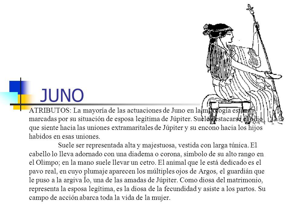 JUNO ATRIBUTOS: La mayoría de las actuaciones de Juno en la mitología están marcadas por su situación de esposa legítima de Júpiter. Suele destacarse