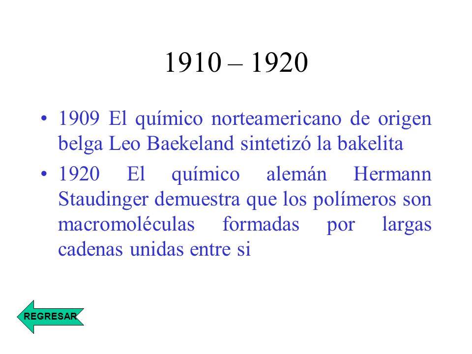 1910 – 1920 1909 El químico norteamericano de origen belga Leo Baekeland sintetizó la bakelita 1920 El químico alemán Hermann Staudinger demuestra que