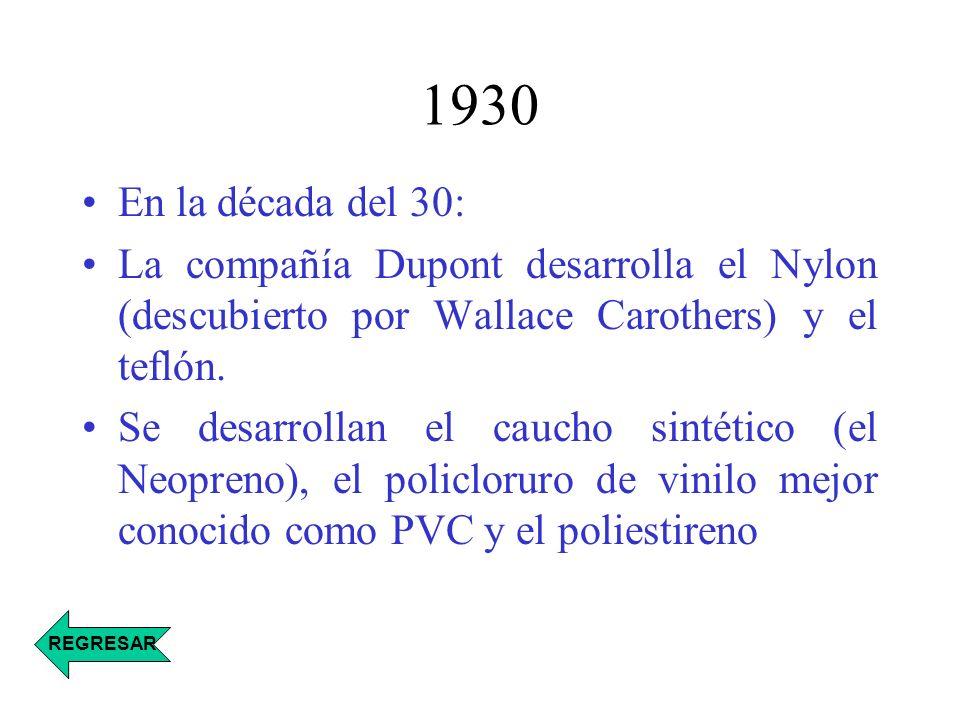 1930 En la década del 30: La compañía Dupont desarrolla el Nylon (descubierto por Wallace Carothers) y el teflón. Se desarrollan el caucho sintético (