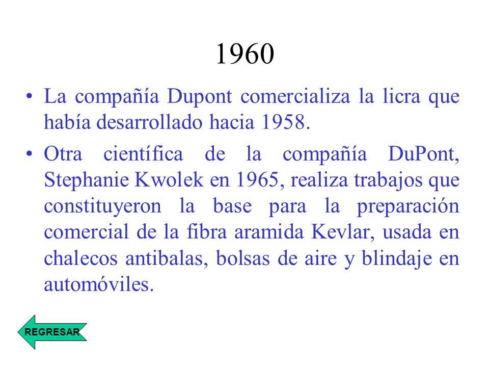 1960 La compañía Dupont comercializa la licra que había desarrollado hacia 1958. Otra científica de la compañía DuPont, Stephanie Kwolek en 1965, real