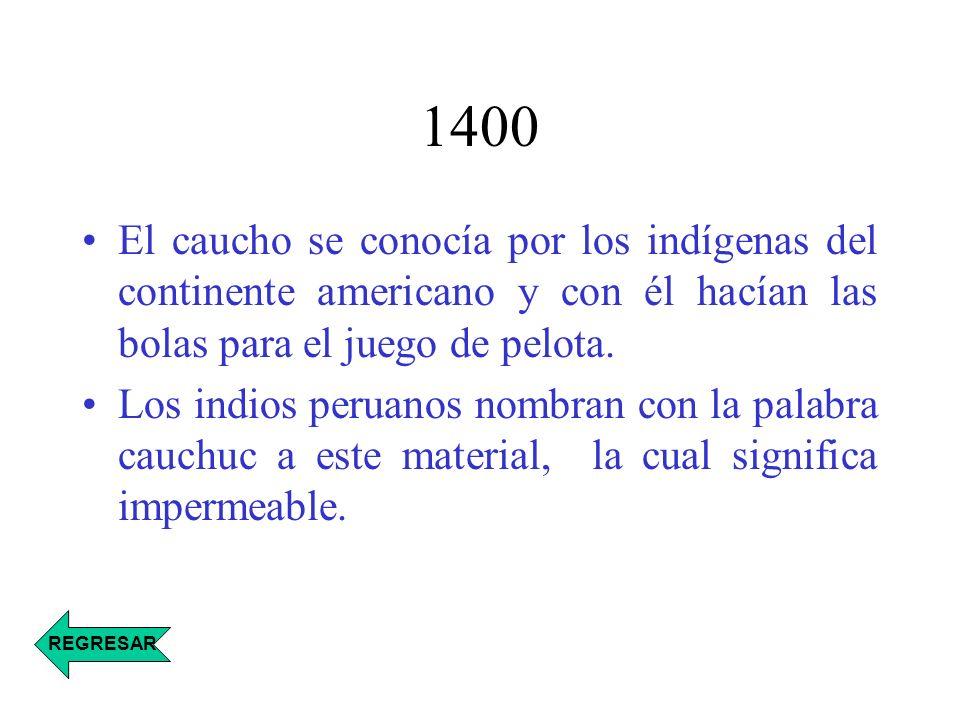 1400 El caucho se conocía por los indígenas del continente americano y con él hacían las bolas para el juego de pelota. Los indios peruanos nombran co
