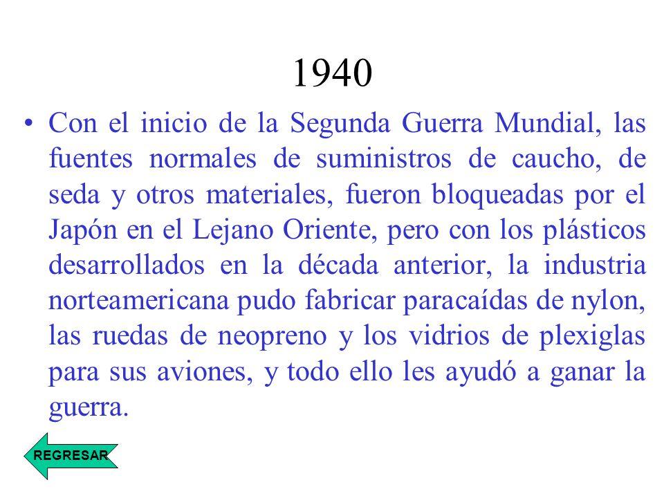 1940 Con el inicio de la Segunda Guerra Mundial, las fuentes normales de suministros de caucho, de seda y otros materiales, fueron bloqueadas por el J