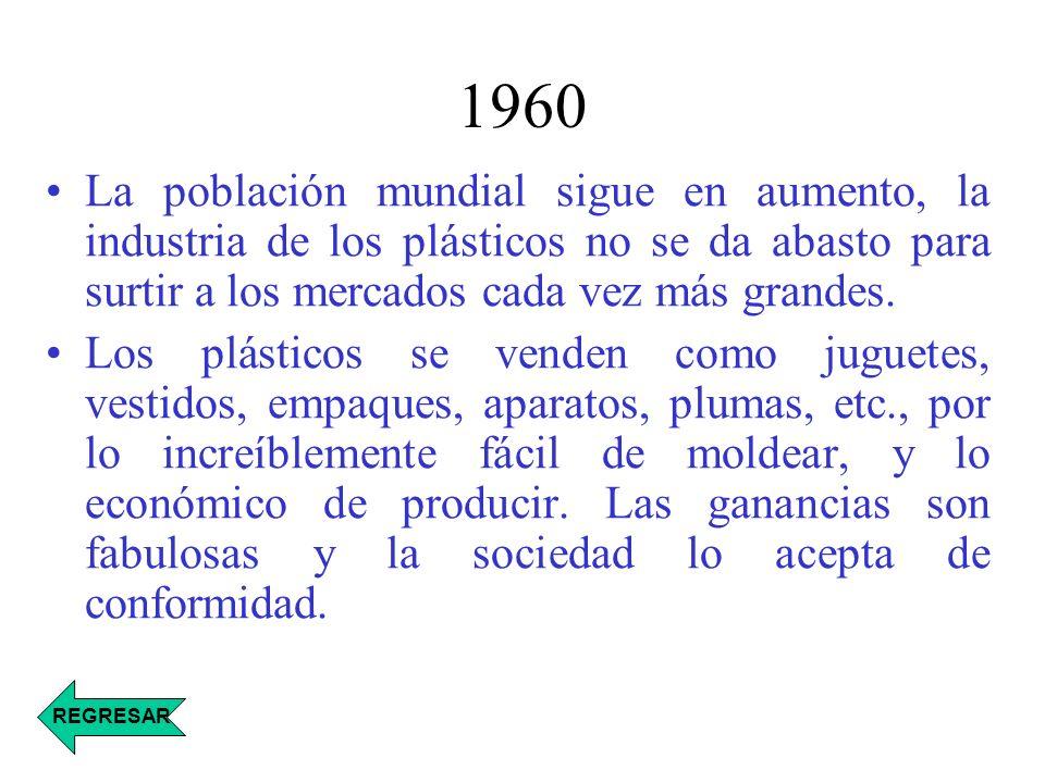 1960 La población mundial sigue en aumento, la industria de los plásticos no se da abasto para surtir a los mercados cada vez más grandes. Los plástic