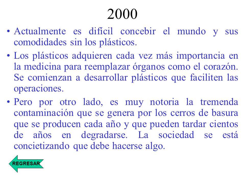 2000 Actualmente es difícil concebir el mundo y sus comodidades sin los plásticos. Los plásticos adquieren cada vez más importancia en la medicina par