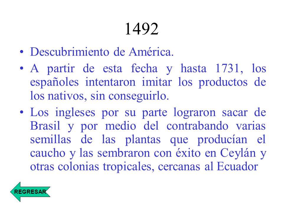 1731- 1736 En 1731 el gobierno francés envió en una expedición geográfica a América del Sur, con el geógrafo matemático Charles de la Condamine, quien en el año de: 1736, hizo llegar a Francia varios rollos de caucho crudo junto con una descripción de los productos fabricados por las tribus del valle del Amazonas.
