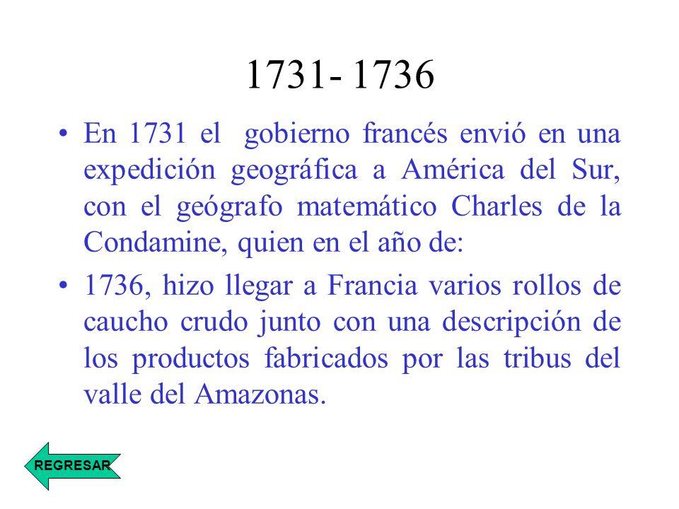 1731- 1736 En 1731 el gobierno francés envió en una expedición geográfica a América del Sur, con el geógrafo matemático Charles de la Condamine, quien