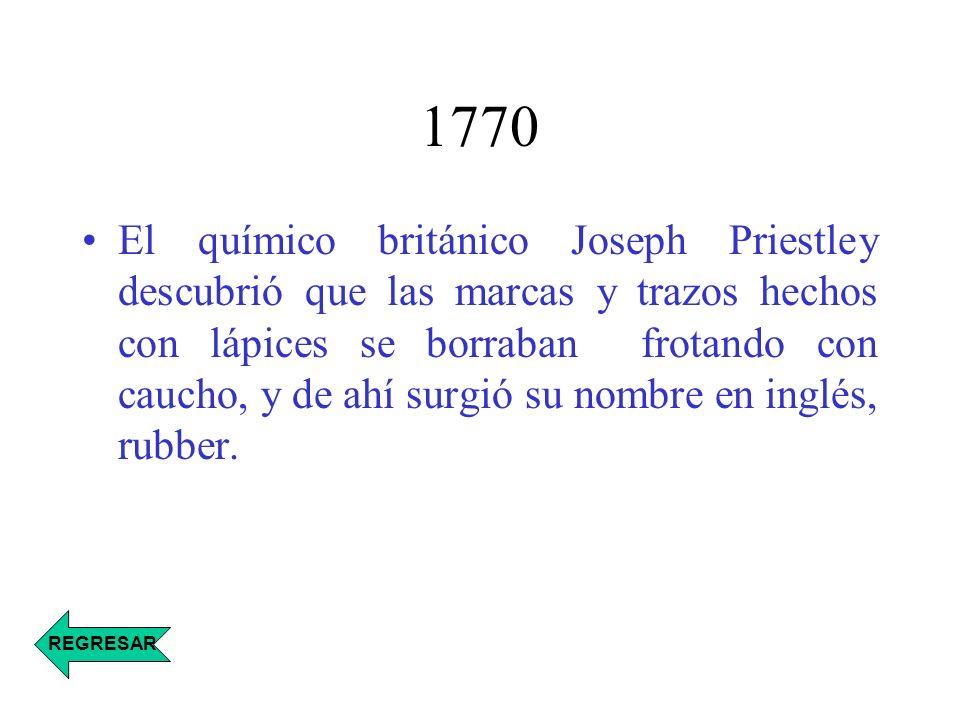 1791 Primera aplicación comercial del caucho por el fabricante inglés Samuel Peal, que patentó un método para impermeabilizar tejidos, tratándolos con caucho disuelto en trementina REGRESAR