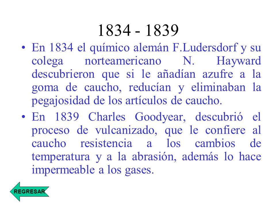 1834 - 1839 En 1834 el químico alemán F.Ludersdorf y su colega norteamericano N. Hayward descubrieron que si le añadían azufre a la goma de caucho, re
