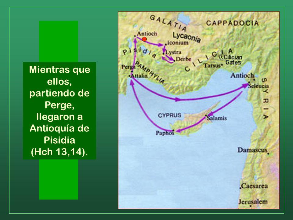 Abandonan Chipre y se dirigen al continente, desembarcando en Perge de Panfilia. Un dato curioso: a partir de ahora Lucas llama a Saulo con su nombre