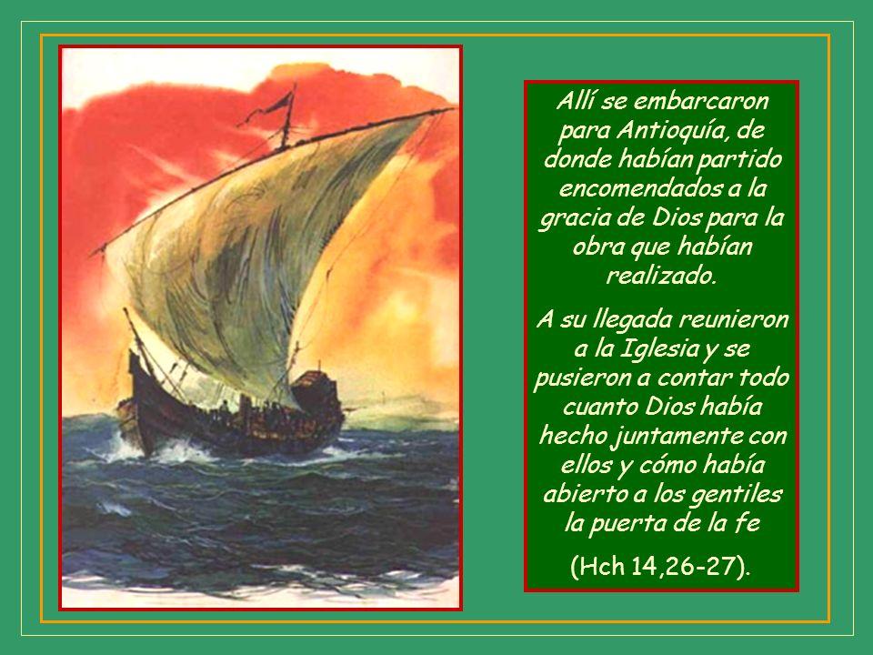 Antes de abandonar la región crean una comunidad en el lugar donde desembarcaron: Atravesaron Pisidia y llegaron a Panfilia; predicaron en Perge la Pa