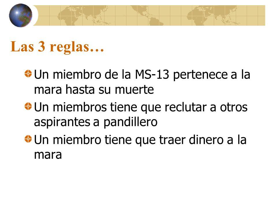 Las 3 reglas… Un miembro de la MS-13 pertenece a la mara hasta su muerte Un miembros tiene que reclutar a otros aspirantes a pandillero Un miembro tie