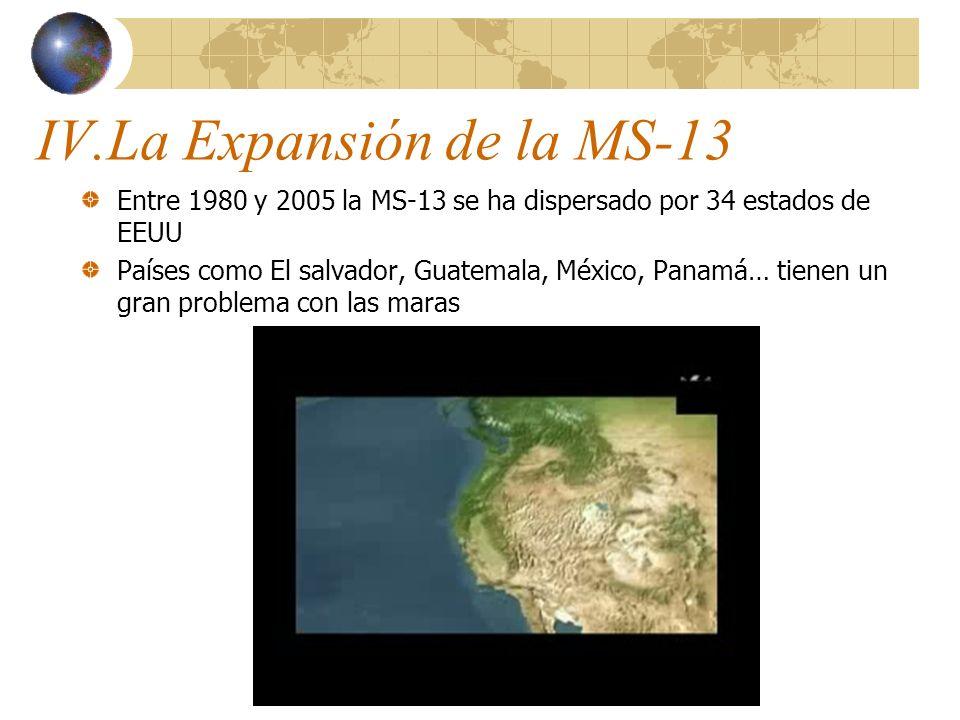 IV.La Expansión de la MS-13 Entre 1980 y 2005 la MS-13 se ha dispersado por 34 estados de EEUU Países como El salvador, Guatemala, México, Panamá… tie