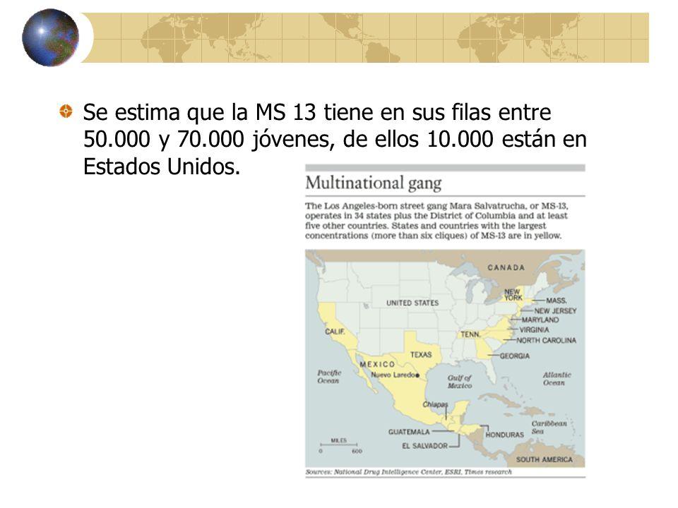 Se estima que la MS 13 tiene en sus filas entre 50.000 y 70.000 jóvenes, de ellos 10.000 están en Estados Unidos.