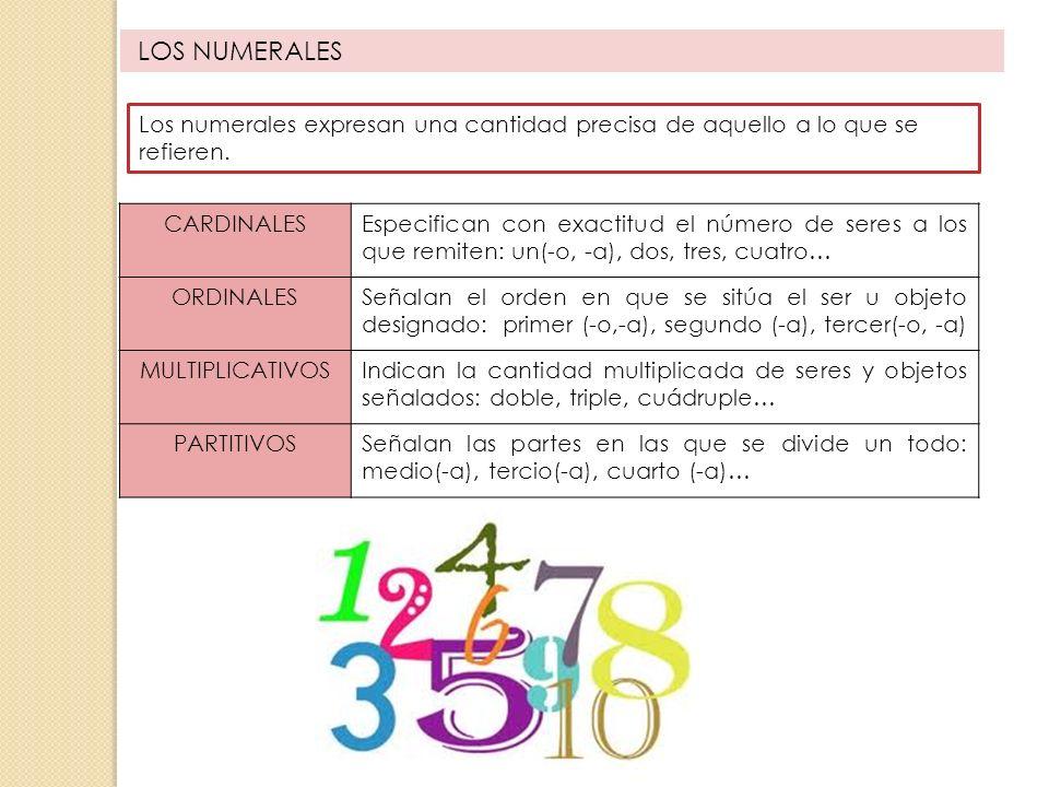 LOS NUMERALES Los numerales expresan una cantidad precisa de aquello a lo que se refieren. CARDINALESEspecifican con exactitud el número de seres a lo