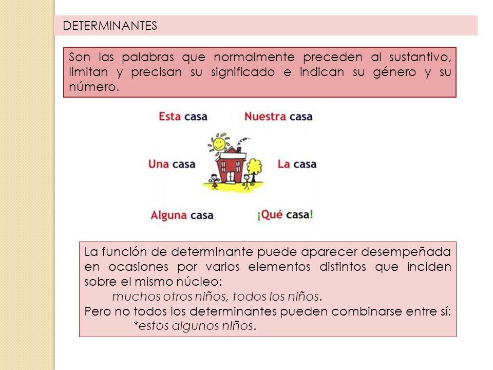 TIPOS DE DETERMINANTES DETERMINANTESARTÍCULO ADJETIVOS DETERMINATIVOS DEMOSTRATIVOSPOSESIVOSNUMERALESINDEFINIDOS INTERROGATIVOS Y EXCLAMATIVOS
