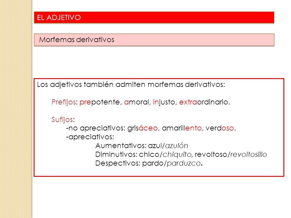 EL ADJETIVO 27 Los adjetivos también admiten morfemas derivativos: Prefijos: prepotente, amoral, injusto, extraordinario. Sufijos: -no apreciativos: g