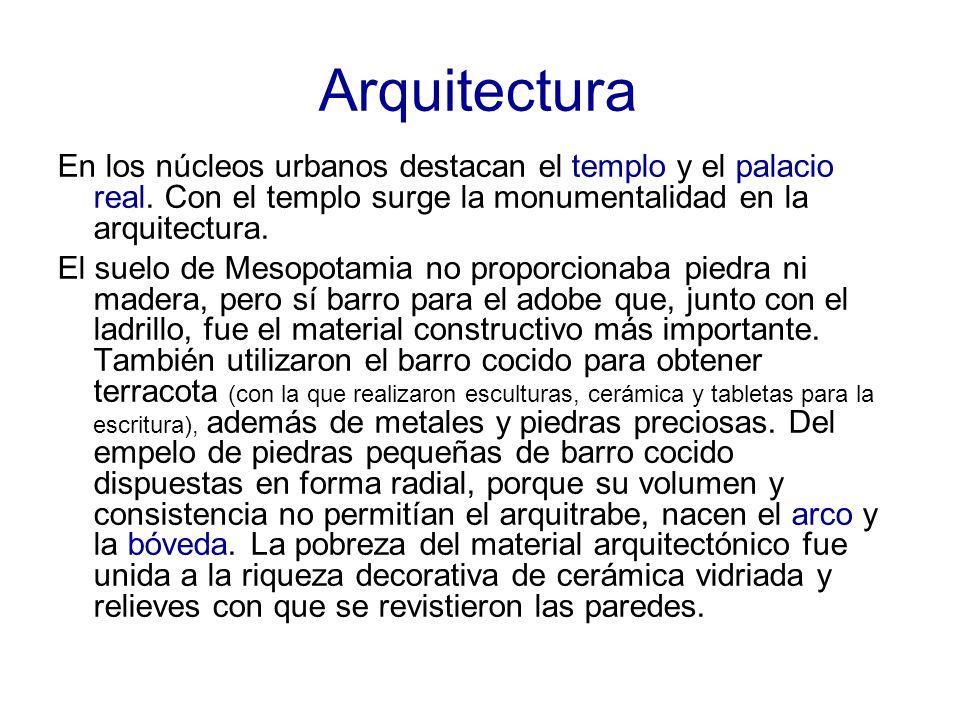 Arquitectura En los núcleos urbanos destacan el templo y el palacio real. Con el templo surge la monumentalidad en la arquitectura. El suelo de Mesopo