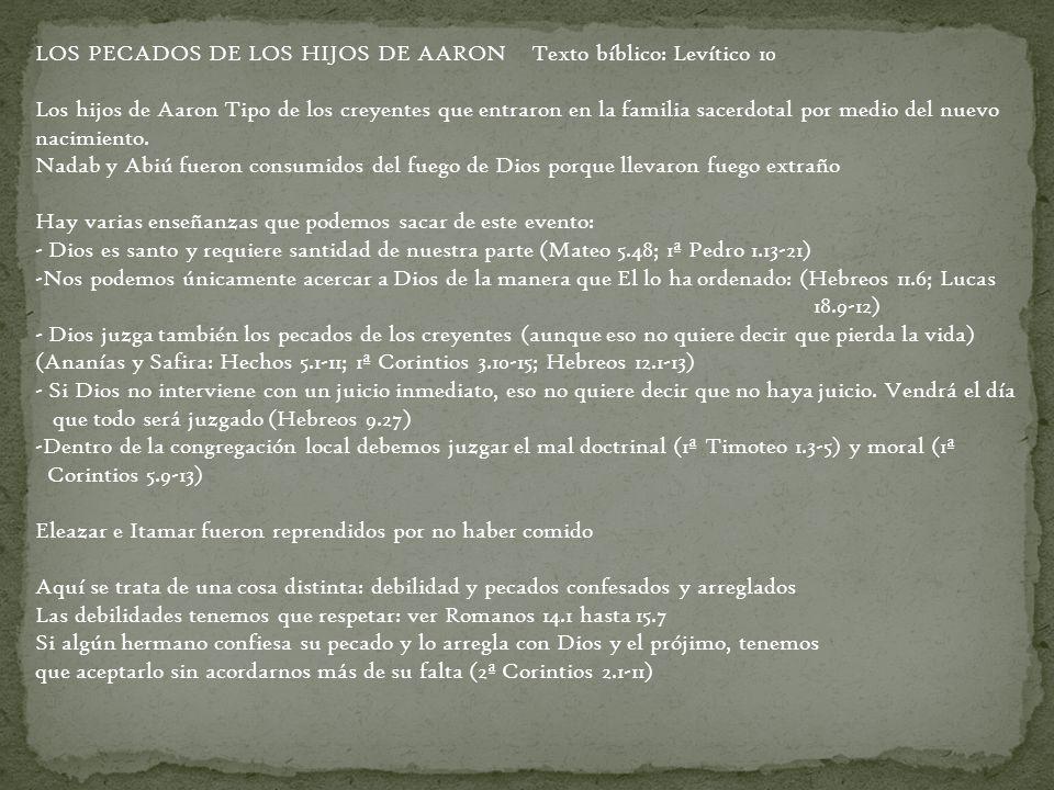 LOS PECADOS DE LOS HIJOS DE AARON Texto bíblico: Levítico 10 Los hijos de Aaron Tipo de los creyentes que entraron en la familia sacerdotal por medio