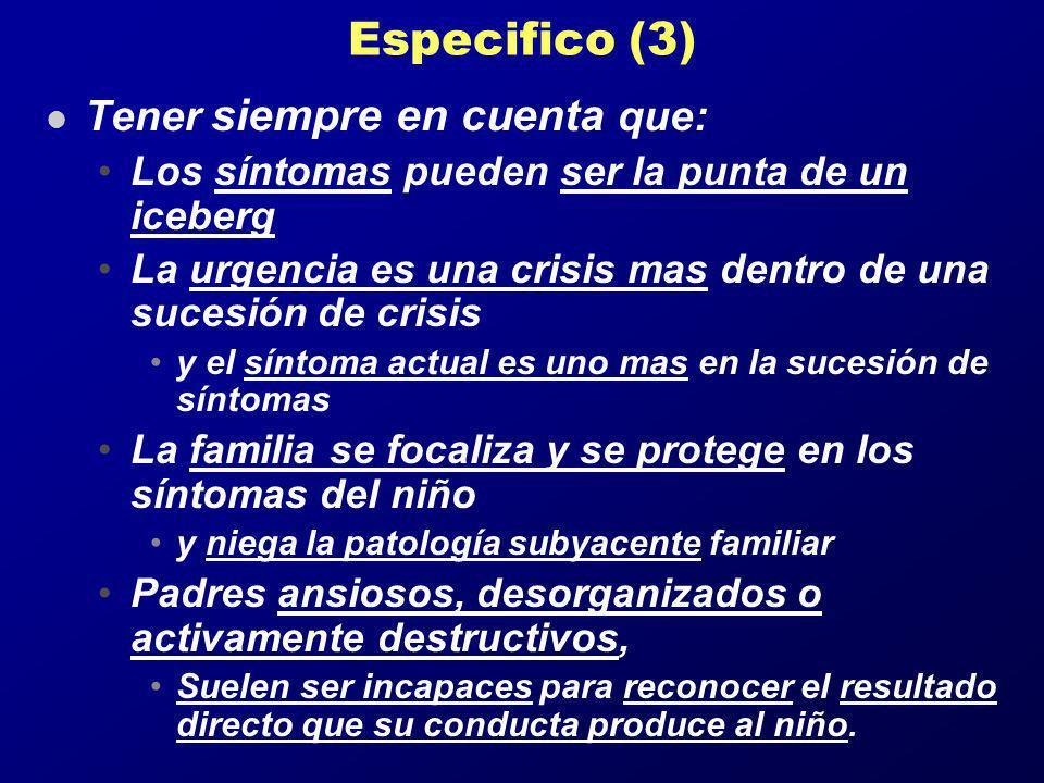 Especifico (3) l Tener siempre en cuenta que: Los síntomas pueden ser la punta de un iceberg La urgencia es una crisis mas dentro de una sucesión de c