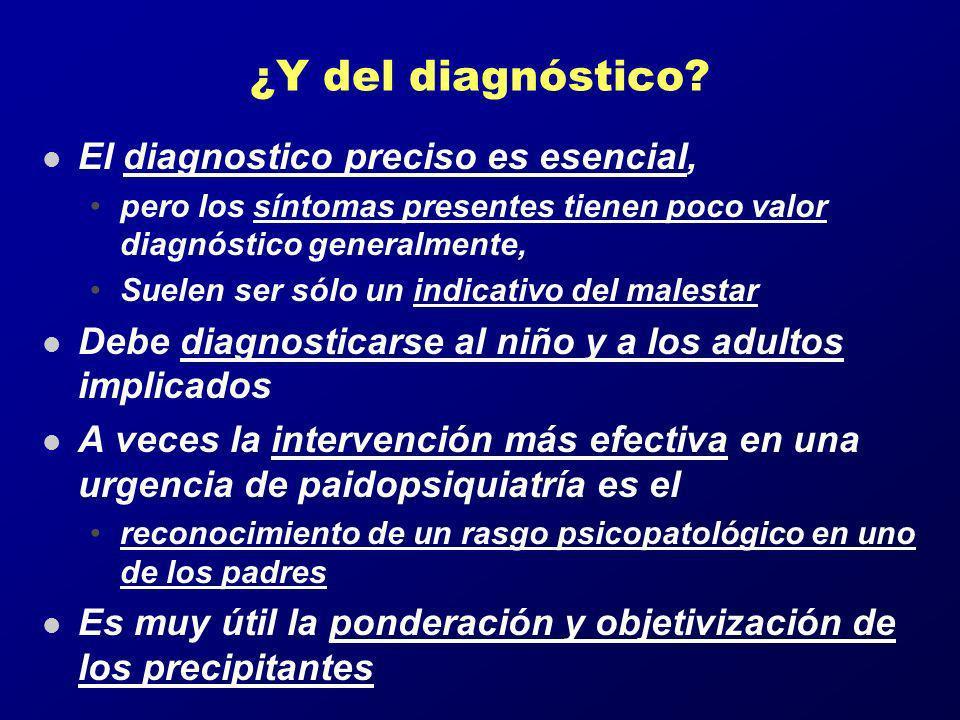 ¿Y del diagnóstico? l El diagnostico preciso es esencial, pero los síntomas presentes tienen poco valor diagnóstico generalmente, Suelen ser sólo un i