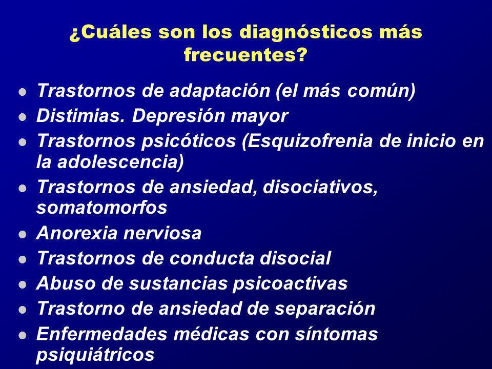 ¿Cuáles son los diagnósticos más frecuentes? l Trastornos de adaptación (el más común) l Distimias. Depresión mayor l Trastornos psicóticos (Esquizofr