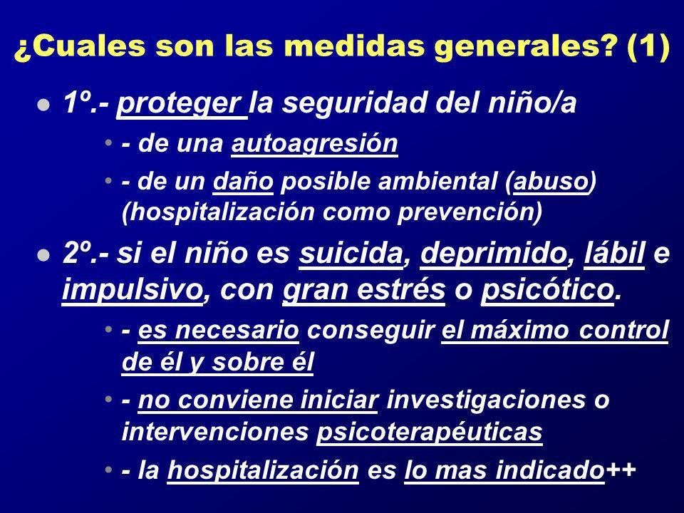 ¿Cuales son las medidas generales? (1) l 1º.- proteger la seguridad del niño/a - de una autoagresión - de un daño posible ambiental (abuso) (hospitali