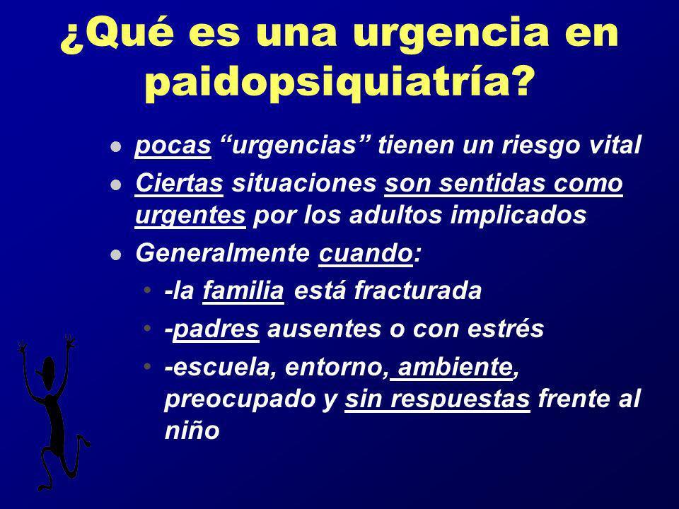 ¿Qué es una urgencia en paidopsiquiatría? l pocas urgencias tienen un riesgo vital l Ciertas situaciones son sentidas como urgentes por los adultos im