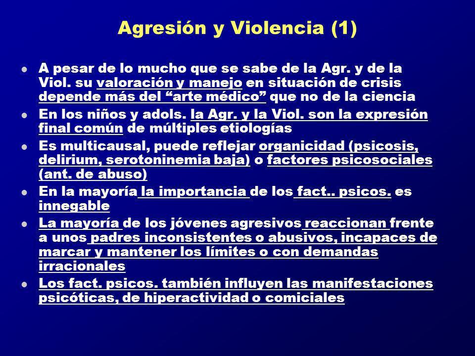 Agresión y Violencia (1) l A pesar de lo mucho que se sabe de la Agr. y de la Viol. su valoración y manejo en situación de crisis depende más del arte