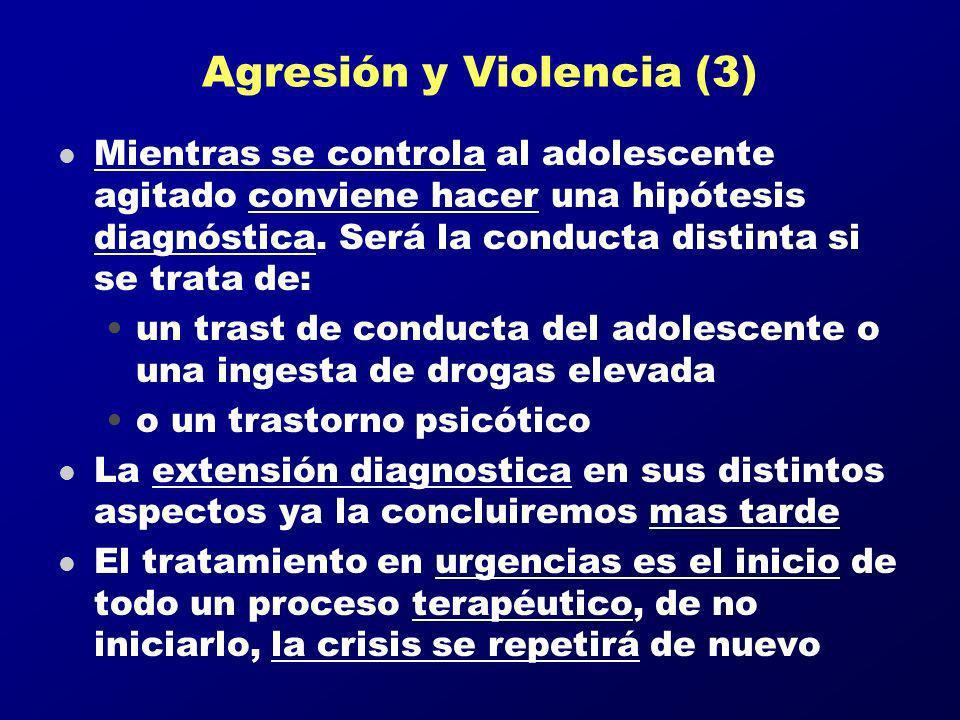 Agresión y Violencia (3) l Mientras se controla al adolescente agitado conviene hacer una hipótesis diagnóstica. Será la conducta distinta si se trata