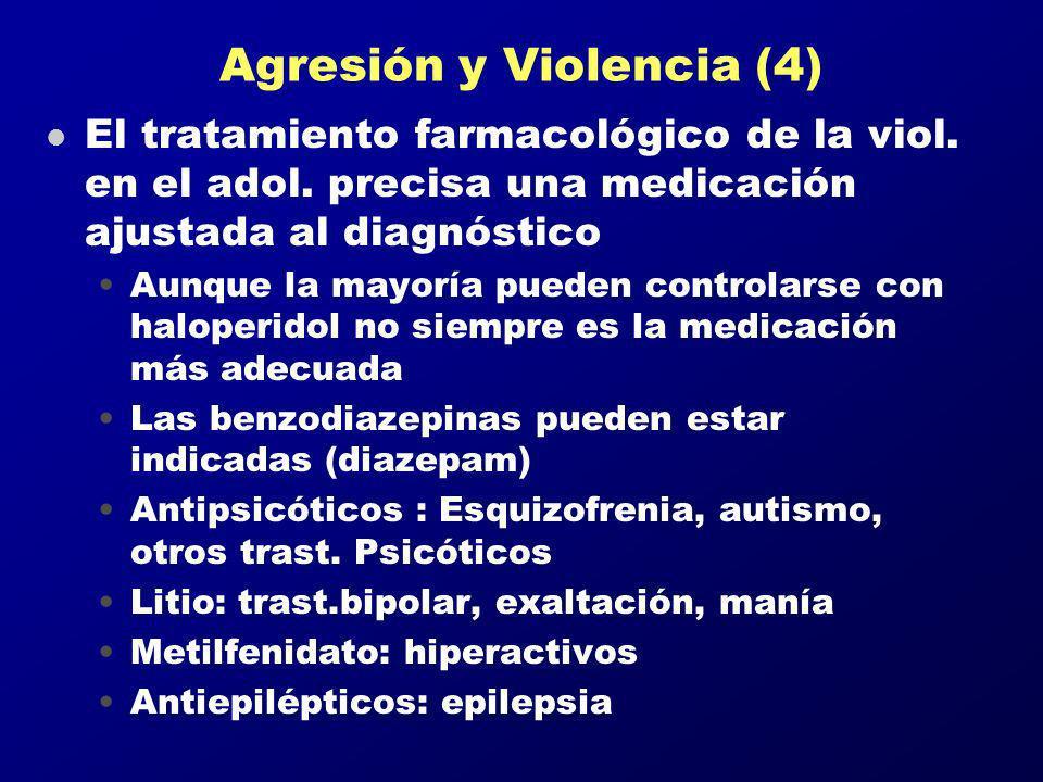 Agresión y Violencia (4) l El tratamiento farmacológico de la viol. en el adol. precisa una medicación ajustada al diagnóstico Aunque la mayoría puede
