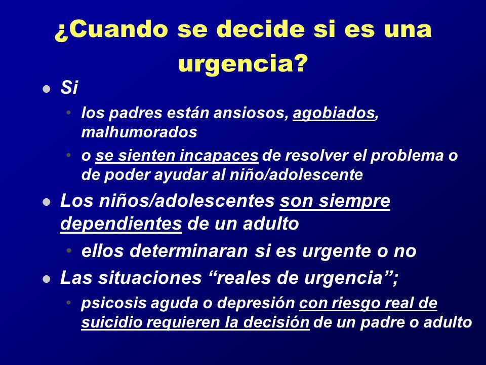 ¿Cuando se decide si es una urgencia? l Si los padres están ansiosos, agobiados, malhumorados o se sienten incapaces de resolver el problema o de pode