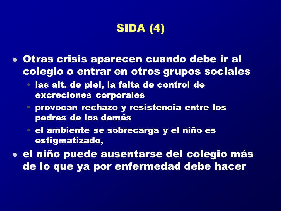 SIDA (4) l Otras crisis aparecen cuando debe ir al colegio o entrar en otros grupos sociales las alt. de piel, la falta de control de excreciones corp