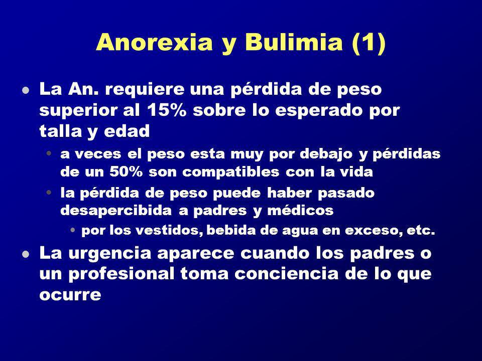 Anorexia y Bulimia (1) l La An. requiere una pérdida de peso superior al 15% sobre lo esperado por talla y edad a veces el peso esta muy por debajo y