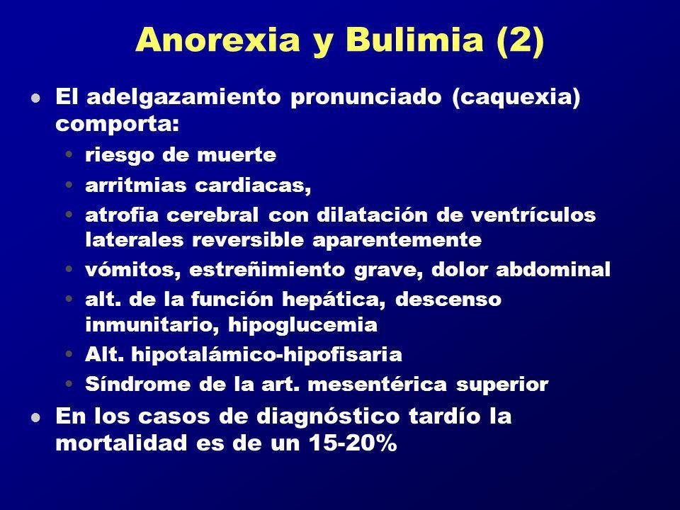 Anorexia y Bulimia (2) l El adelgazamiento pronunciado (caquexia) comporta: riesgo de muerte arritmias cardiacas, atrofia cerebral con dilatación de v