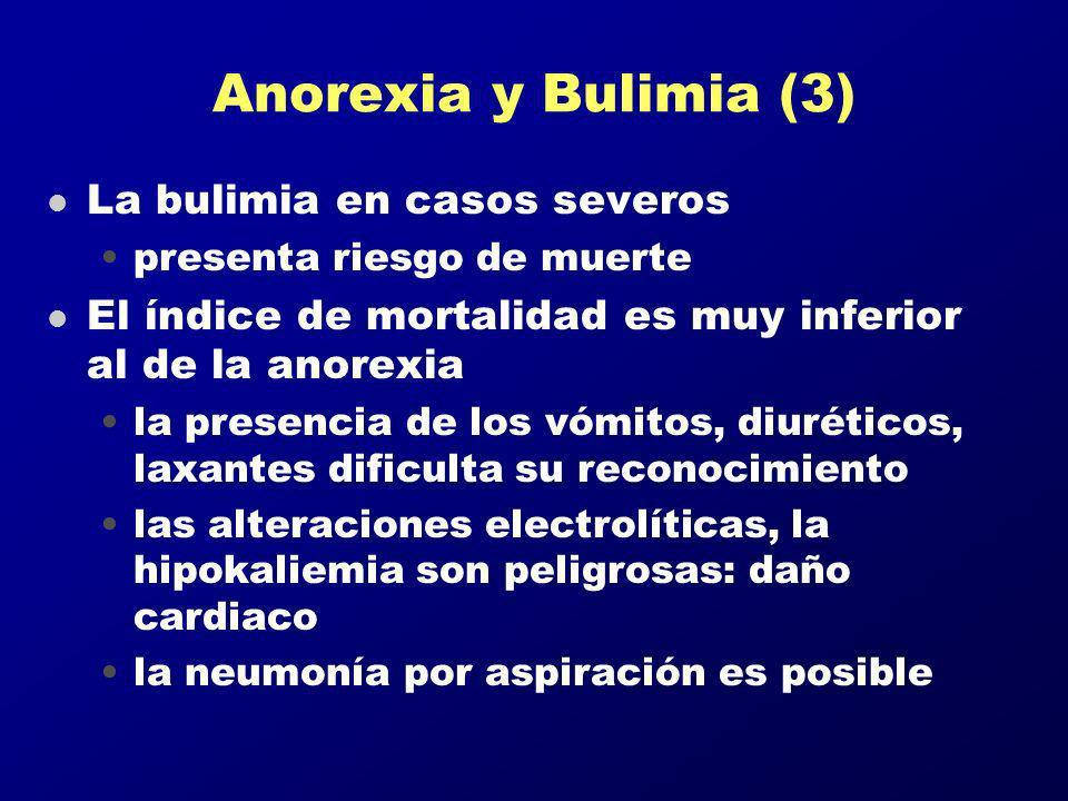 Anorexia y Bulimia (3) l La bulimia en casos severos presenta riesgo de muerte l El índice de mortalidad es muy inferior al de la anorexia la presenci