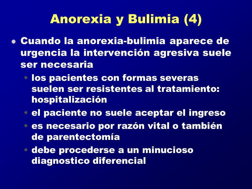 Anorexia y Bulimia (4) l Cuando la anorexia-bulimia aparece de urgencia la intervención agresiva suele ser necesaria los pacientes con formas severas