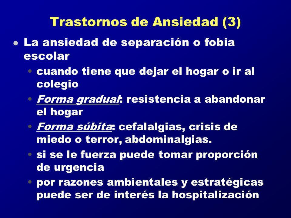 Trastornos de Ansiedad (3) l La ansiedad de separación o fobia escolar cuando tiene que dejar el hogar o ir al colegio Forma gradual: resistencia a ab