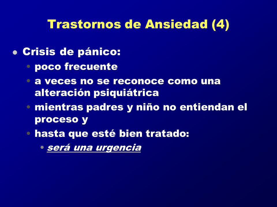 Trastornos de Ansiedad (4) l Crisis de pánico: poco frecuente a veces no se reconoce como una alteración psiquiátrica mientras padres y niño no entien